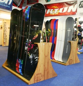 Bamboe snowboard stands